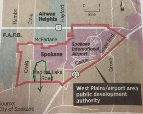 Spokane Industrial area map cropped